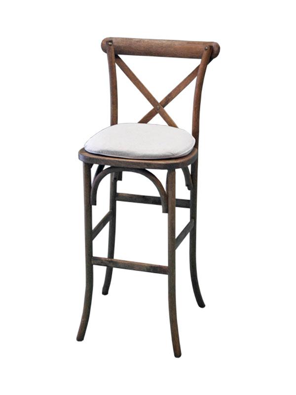 Vineyard Crossback Bar Stool W Cushion